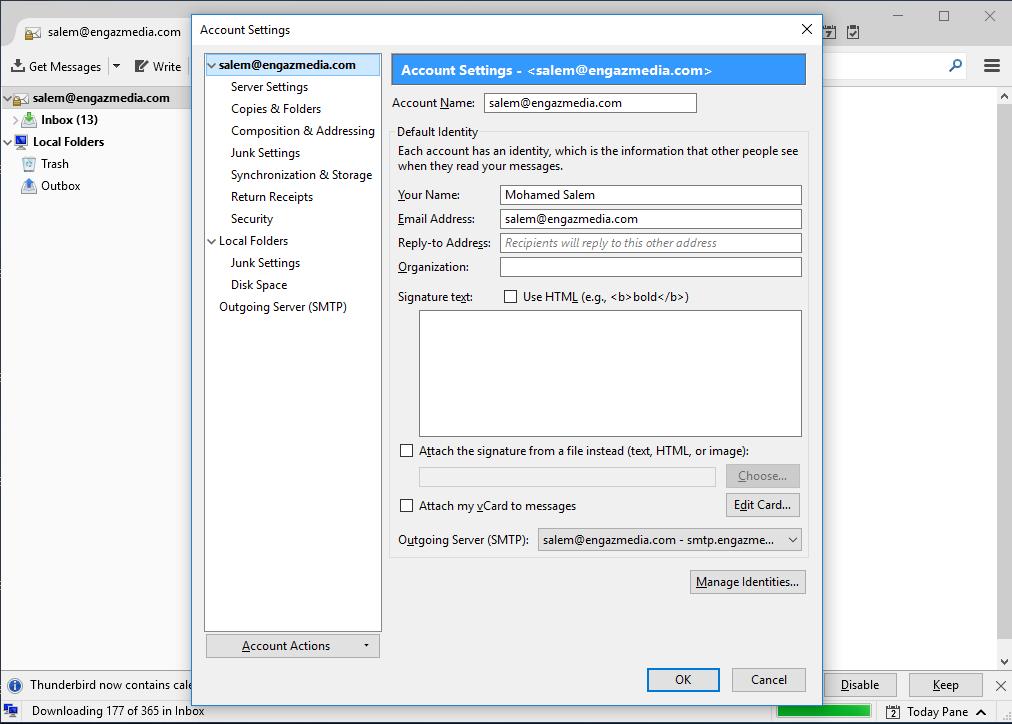 Screenshot 10 - طريقة تشغيل البريد الإلكتروني على برنامج الـ Thunderbird - طريقة تشغيل Thunderbird, تشغيل الايميلات انجاز ميديا, برنامج Thunderbird, Thunderbird انجاز ميديا, Thunderbird EngazMedia