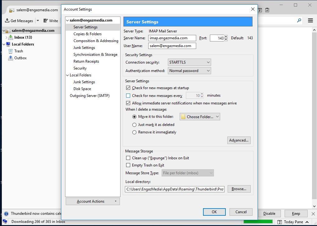 Screenshot 11 - طريقة تشغيل البريد الإلكتروني على برنامج الـ Thunderbird - طريقة تشغيل Thunderbird, تشغيل الايميلات انجاز ميديا, برنامج Thunderbird, Thunderbird انجاز ميديا, Thunderbird EngazMedia