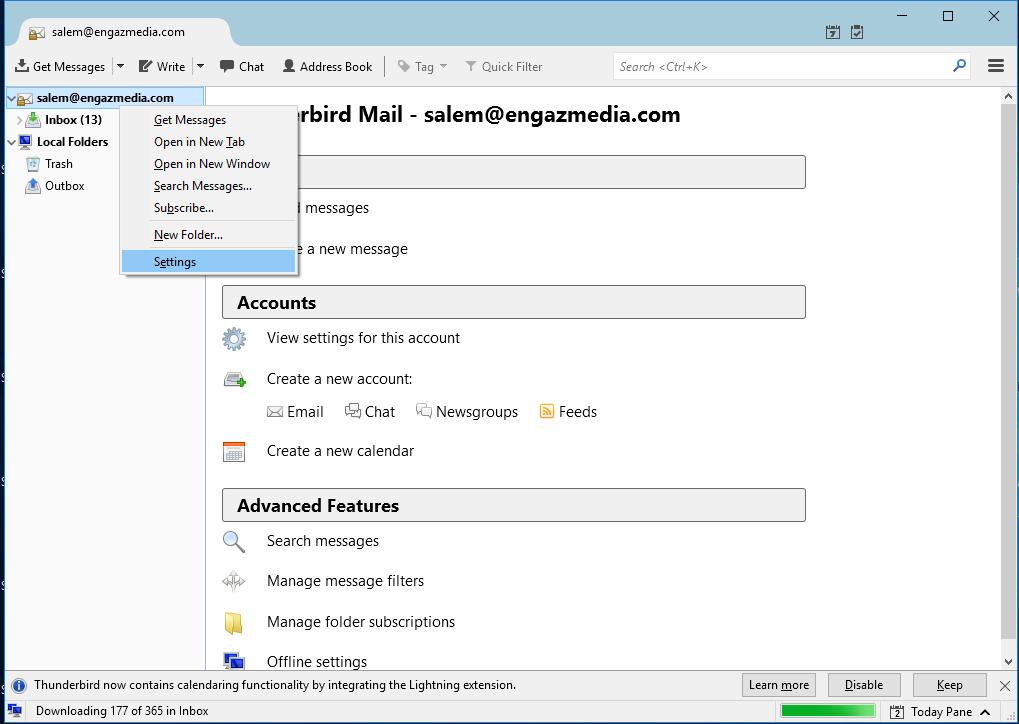 Screenshot 9 - طريقة تشغيل البريد الإلكتروني على برنامج الـ Thunderbird - طريقة تشغيل Thunderbird, تشغيل الايميلات انجاز ميديا, برنامج Thunderbird, Thunderbird انجاز ميديا, Thunderbird EngazMedia